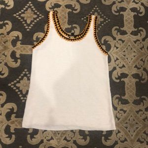 Knit tank top with crochet trim